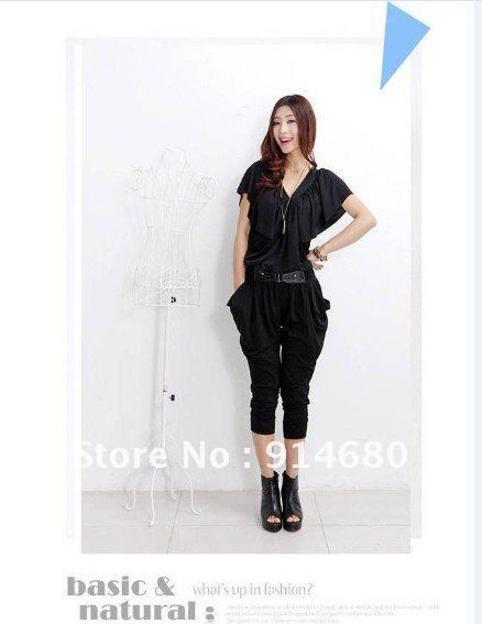 Free shipping ! New V collar conjoined twin pants  free size four colors