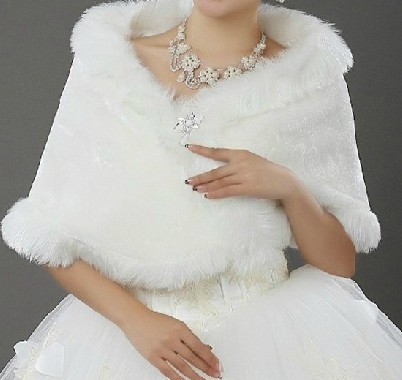 Free Shipping New Wedding Dress Bridal Accessories Faux Fur Wrap Coat BW8983