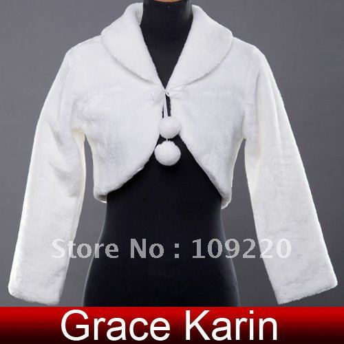 Free Shipping New Wholesale GK Faux Fur Fashion Wedding Jackets Bridal Wrap Shawl  Coat Bolero CL2617