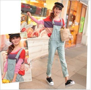 Free shipping new wild loose piece pants, jeans, suspenders,  denim coveralls-G141
