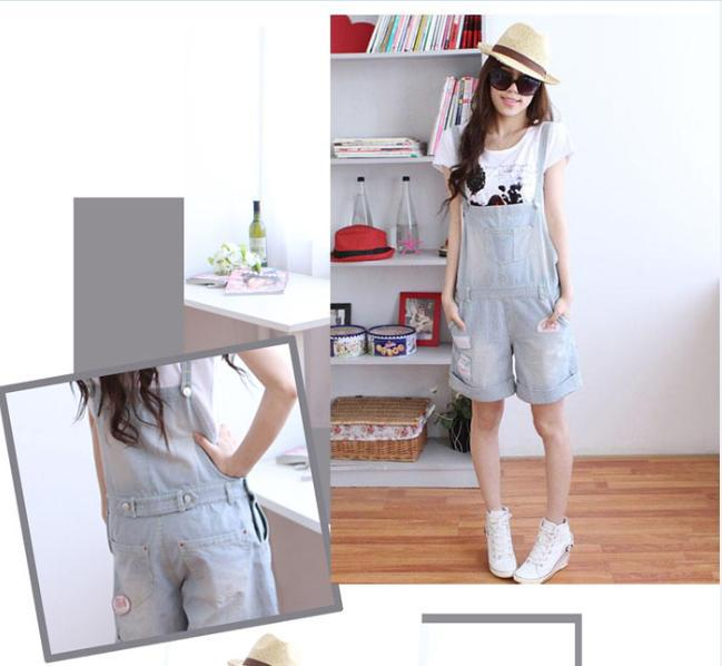Free shipping new women denim overalls, suspenders jeans yards,Large size coveralls, loose denim coveralls
