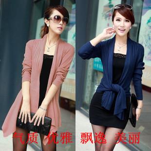 Free Shipping New Women Irregular Elegant OL Long Sleeve Cardigan Medium-long Slim Sweater Shawl Shrug