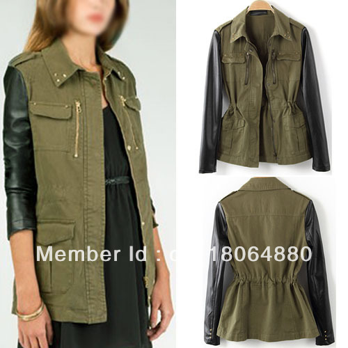 Free Shipping New Women Retro Military Green Faux Leather Sleeve Rivet Collar Slim Blazer Jacket Coat WCT118