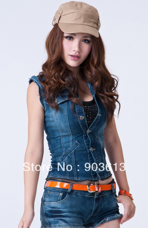 Free shipping new women's fashion spring and summer denim set detachable jumpsuit bodysuit denim vest low-waist shorts with belt