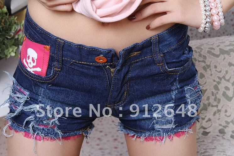 free  shipping    New women's fashion summer skull jeans shorts female shorts