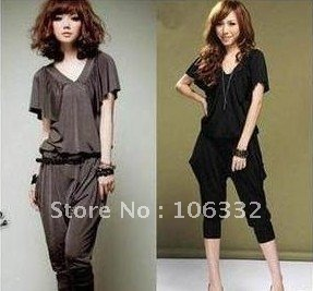 Free Shipping New Women V neck jumper short sleeve overall casual romper haroun pants 2 Colors