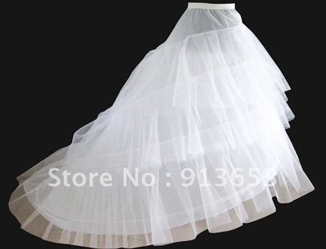 Free shipping Newest Gorgeous exquisite White train Petticoat Bridal Slip Underskirt Crinoline For Wedding Dresses