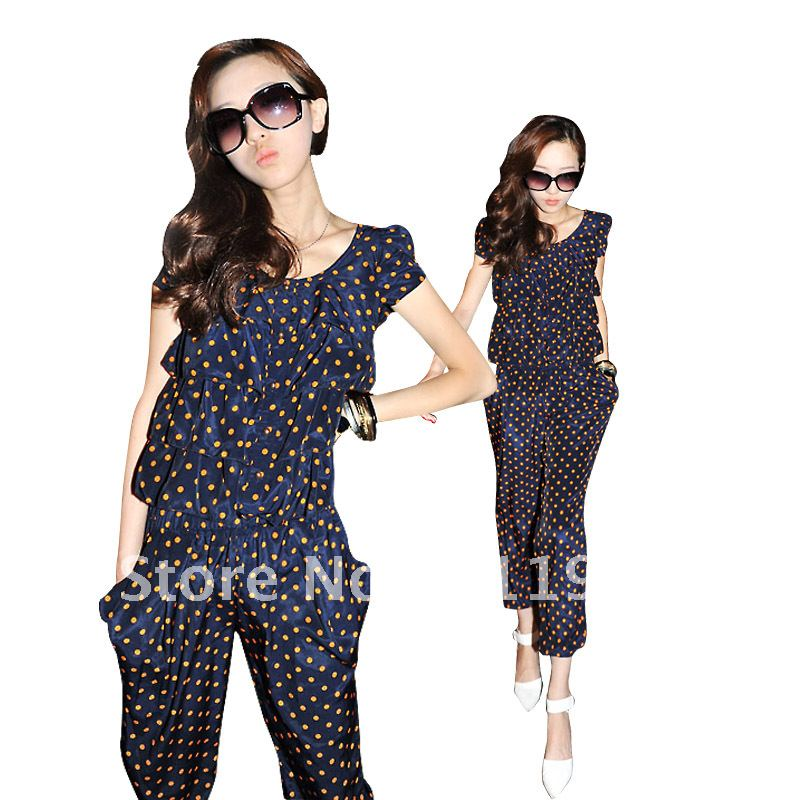 Free shipping of CNRAM Plus size clothing mm summer 2012 plus size plus size new arrival polka dot jumpsuit