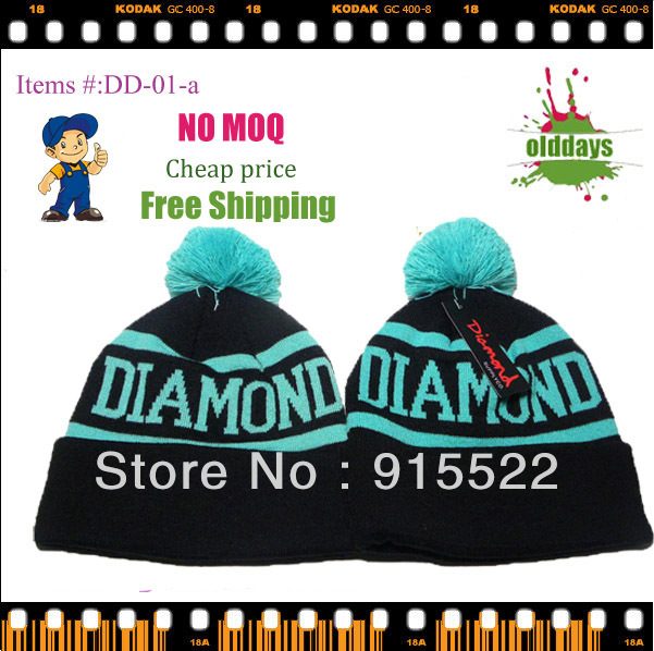 Free shipping Olddays DD-01-a/b Cool diamond beanie for men cotton cheap factory retail trade NO MOQ Three color available