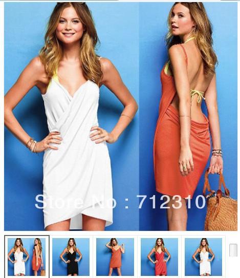 Free Shipping Open-Back Wrap Front Summer Sexy Women Lady Swimwear Bikini Cover Up Beach Dress Drop Price