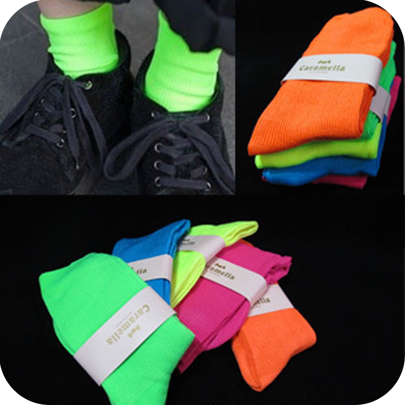 [Free Shipping] Ow07 zipper socks neon color  100% cotton socks 45g [Minimum order $5, mix or separate]