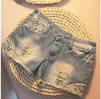 Free shipping paillette ornament pockets shorts summer women's denim shorts women's jeans shorts ladies' denim short pants