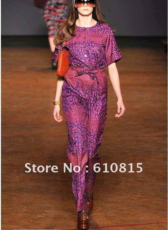 Free Shipping Paint leopard twill silk Jumpsuit H120617