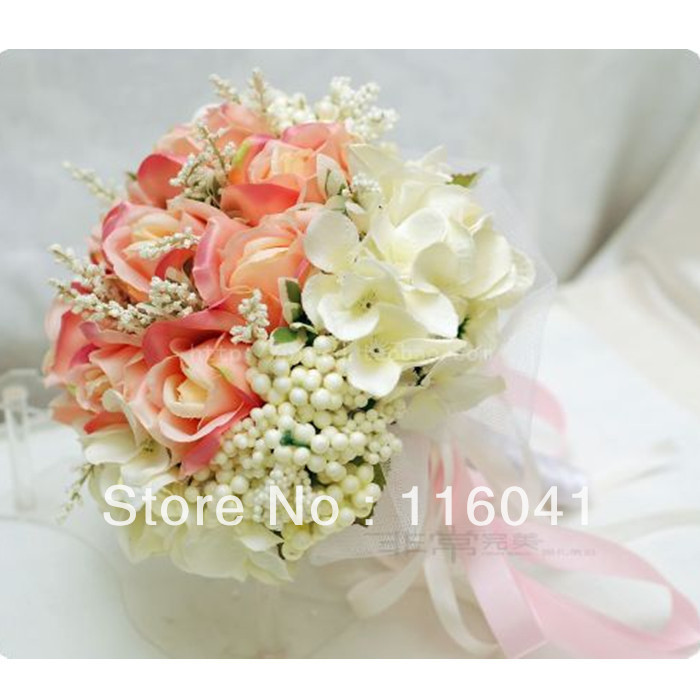 Free Shipping pale red ivory Rose flower with ribbon Wedding bridal throw bouquet Bridal Bouquet Bridesmaid bouquet