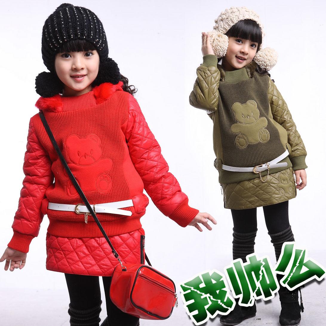 Free shipping piece  Children's clothing female child winter dresses bear sports 2 piece set sweatshirt