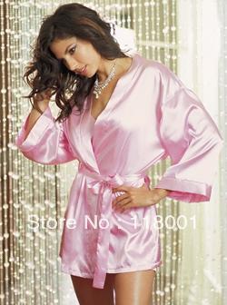 free shipping pink satin sexy nightgrow or robe