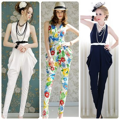 Free shipping pleated sleeveless vest v-neck high waist ladies print haren Jumpsuits & Rompers 2012 new fashion