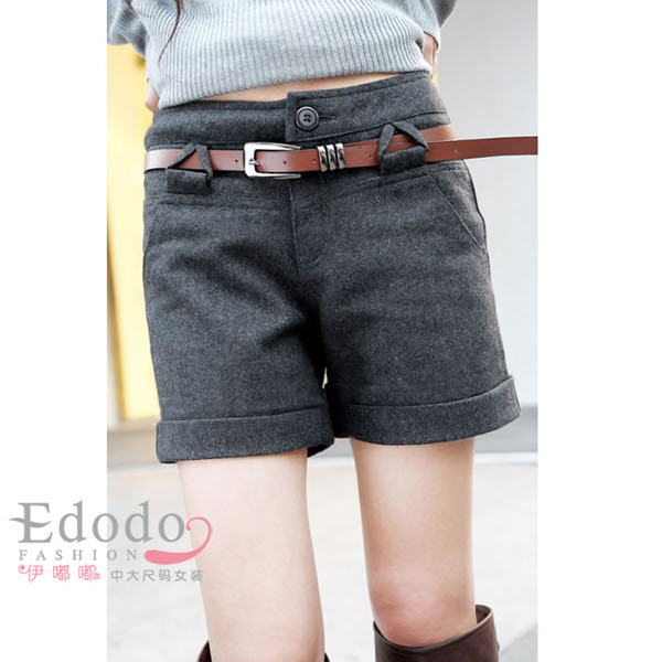 Free shipping plus size high waist shorts women woolen autumn winter black grey XL-XXXXL