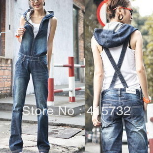 Free Shipping Plus Size Jumpsuit For Women Fashion Jeans Overalls With Zipper And Hood Bib Pants Denim Straight Trouses Romper