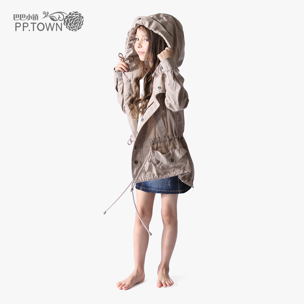 Free shipping Pptown spring female child trench outerwear child drawstring thin outerwear 0637
