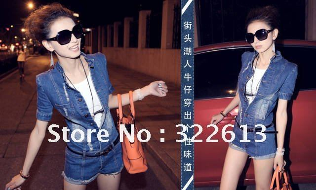 Free Shipping Promotion New 2013 Fashion Jeans Jumpsuit Summer Short Sleeve Good Quality Thick