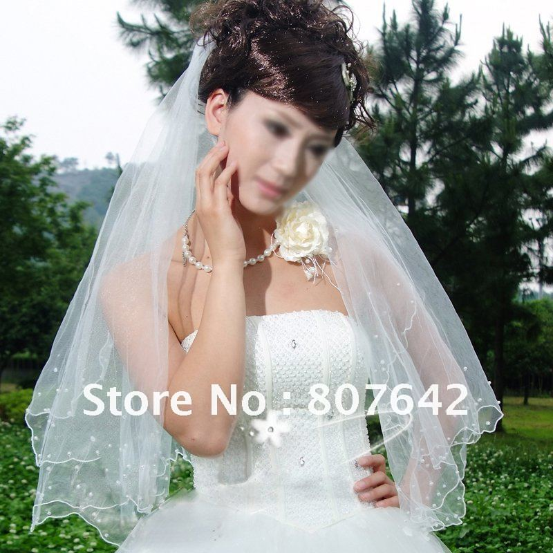 Free shipping promotion price 1.5M pearls two layers white wedding bridal veil bridal accessories Cathedral Sky-V010