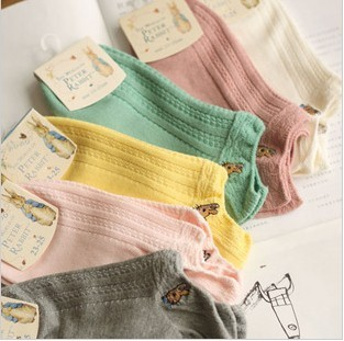 free shipping,promotional 5pairs/lot women's socks brand candy color sock 100% cotton sock slippers