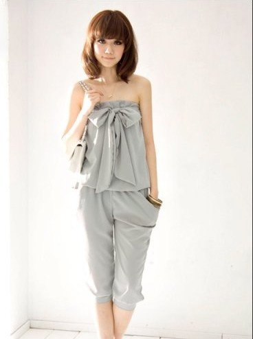 free shipping Retail summer popular sweety solid sleeveless chiffon 2 color women's Casual tube  jumpsuit