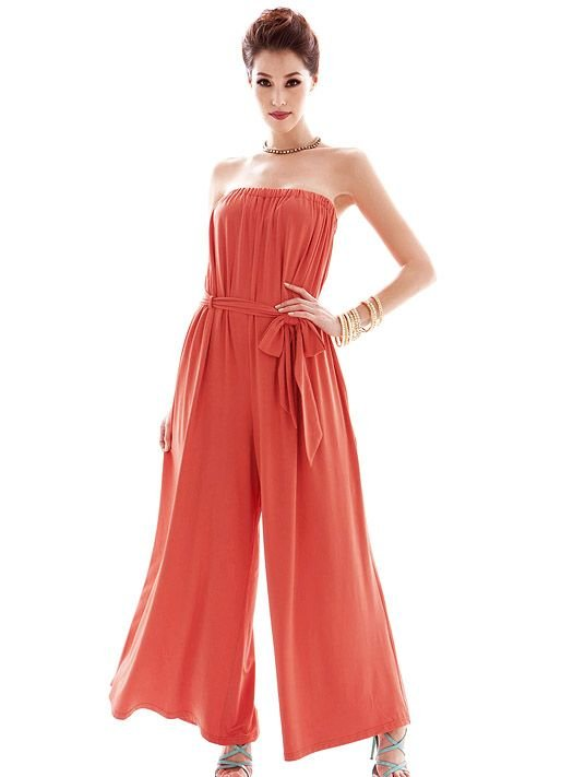 free shipping Retail summer sweety sexy slim popular solid cotton women's Casual Strapless loose pants Jumpsuits E30040
