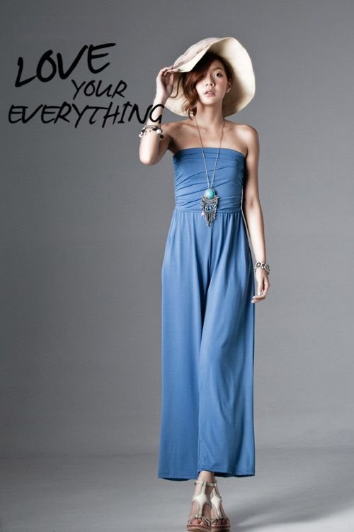 free shipping Retail summer sweety sexy slim popular solid cotton women's Casual Strapless loose pants Jumpsuits E30049