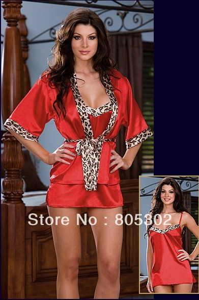 Free shipping,Retail & Wholesale--Fashion Women Sexy Lingerie Red Women Satin Sleepwear Robe Gown,ONE SET,DB6171