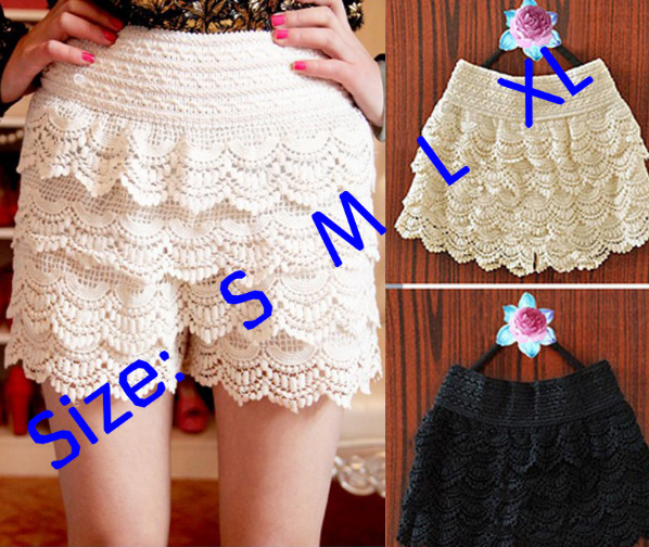 Free Shipping!Retro Sexy Fashion Mini Tiered Layered Knitted Crochet Short Skirt Under Safety Pants Skorts S M L XL