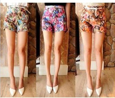 Free Shipping Rose flowers, high waist shorts shorts send the belt  D95-524-35-239
