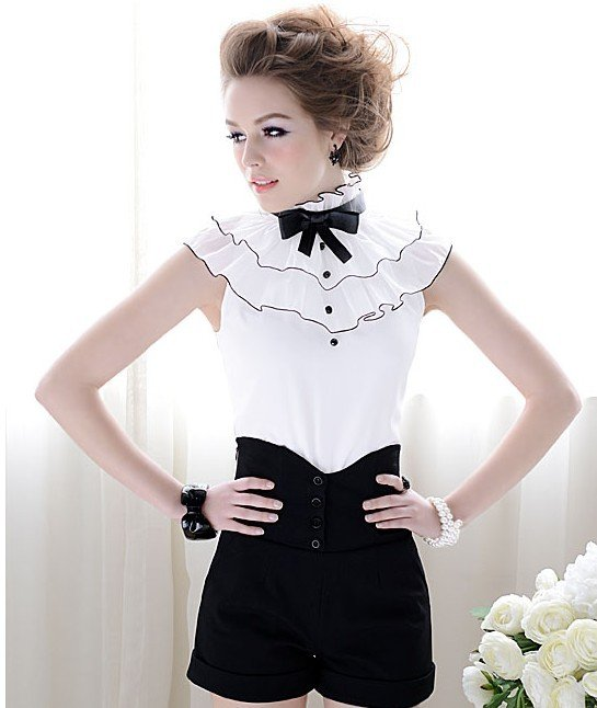 free shipping S-Lmanufacturers supply women's Black high waist fashion shorts#0198