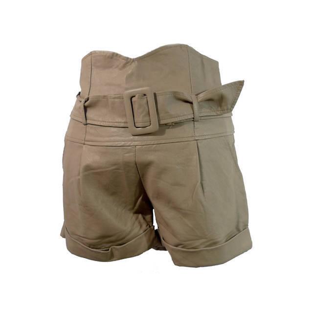 Free Shipping!!! Sen . sen faux PU cool high waist belt leather shorts 163004