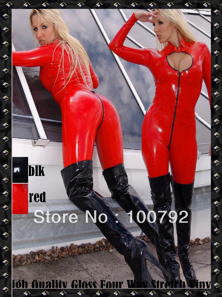 Free shipping sexy fetish stretch shiny  Vinyl PVC  lycra latex look lace up catsuit overall  zentai with front crotch zip