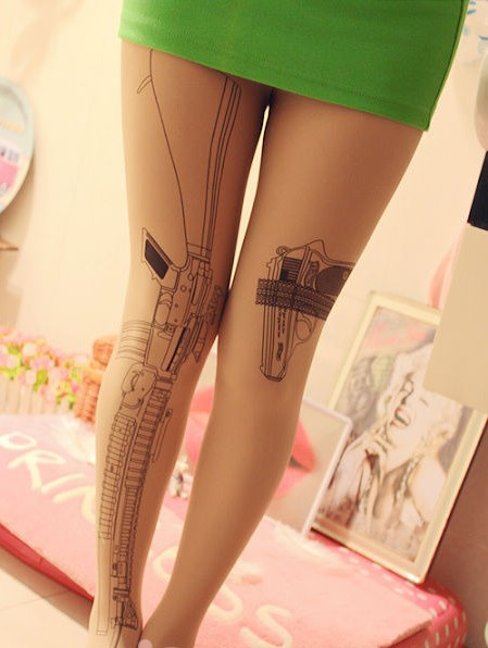 Free Shipping Sexy Gun Cat Angel Tattoo Socks 3pcs/Lot Transparent Pantyhose Stockings Tights Leggings  650223