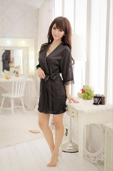 Free Shipping Sexy Lingerie Black Robe Silk Dress Sleepwear + Waistband, Women Costume, Sexy Sleepwear, Uniform SW28