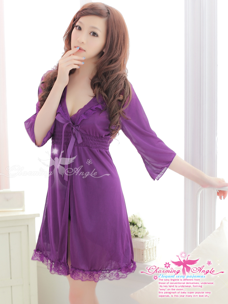 Free Shipping Sexy temptation bud silk pajamas lovely long sleeve nightgown twinset leisure wear BZS128 fashion