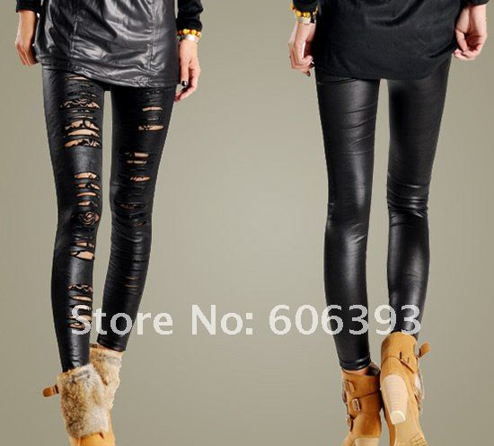 Free Shipping Sexy Women Ripped Tron Lace Cutout Stretch Tights Legging Pants Slash Footless