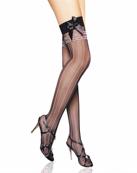 Free shipping! Sheer Stockings With Opaque Stripes and Satin Bow Sexy Stockings wholesale retail sexy hosiery 8786