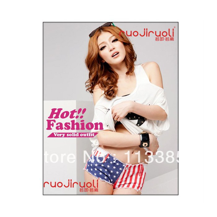Free shipping /Shipping Hot VIVI magazine New American flag printed fashion washed Denim jeans hot pants for Summer