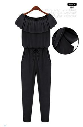 Free Shipping Size Free Women Ruffles O-Neck Solid Jumpsuits Fashion Loose Lady Rompers Chiffon Jumpsuit Causual Wear