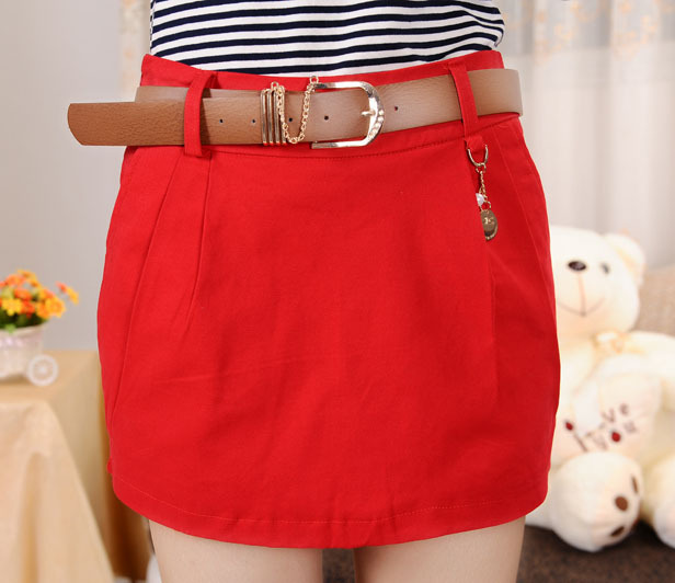 Free Shipping skirt shorts with Belt, summer shorts 2013 women, skorts shorts women, solid color short pants women, MG5989SK