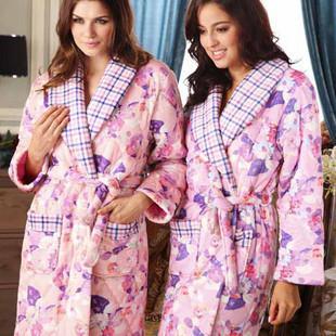 Free Shipping Sleepwear lounge winter women's thickening coral fleece cotton-padded nightgown robe z11588