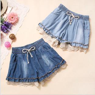 Free shipping Splicing hollow lace crochet drawstring denim shorts 2 color