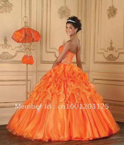 Free shipping!Stock Orange  Quinceanera dress Prom Ball Gowns Evening Dresses 6 8 10 12 14 16 back lace-up