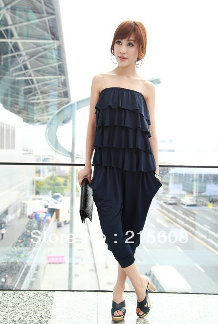 Free shipping strapless solid color women casual jumpsuits with ruffles decoration navy black high quality J003