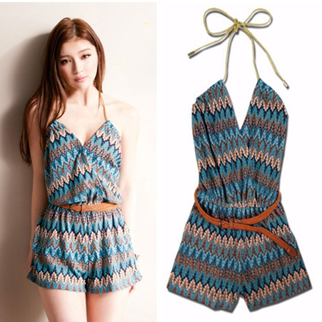 Free Shipping striped printed sashes short jumpsuit overalls for women romper and jumpsuits plus size coverall catsuit brand