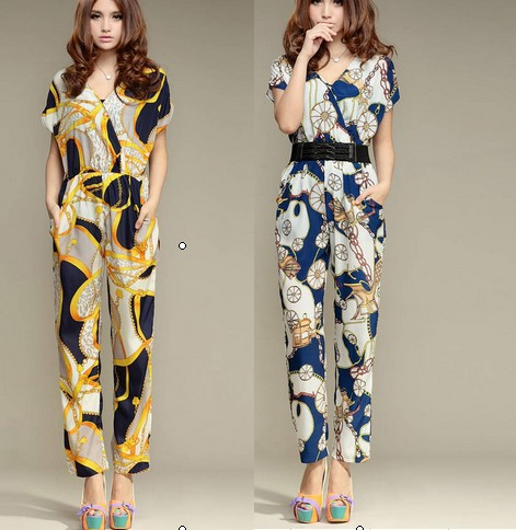 Free Shipping Stylish Popular Hot Sale Flower Printed Short Sleeve Jumpsuit With Belt Blue/Yellow